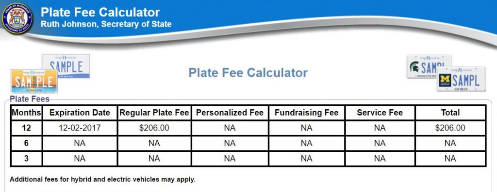 Determine New License Plate Fee
